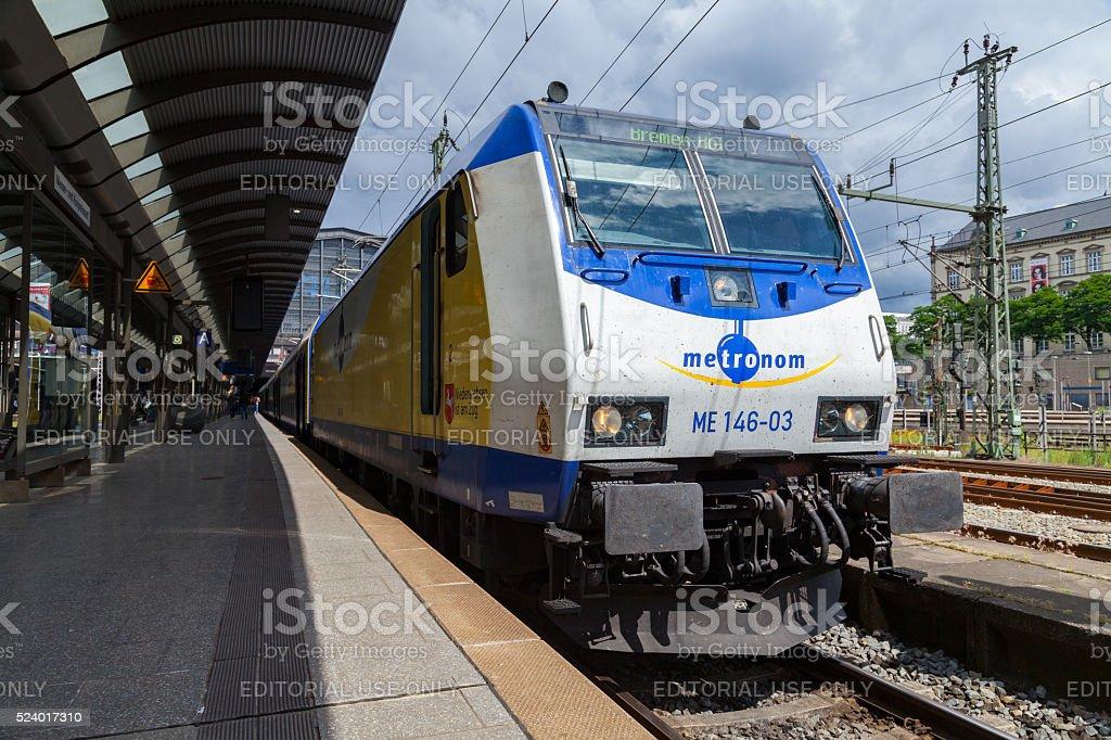 german regionalexpress from metronom, arrives at hamburg train station stock photo