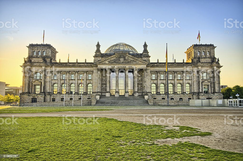 German Reichstag building during the sunrise, Berlin, Germany stock photo