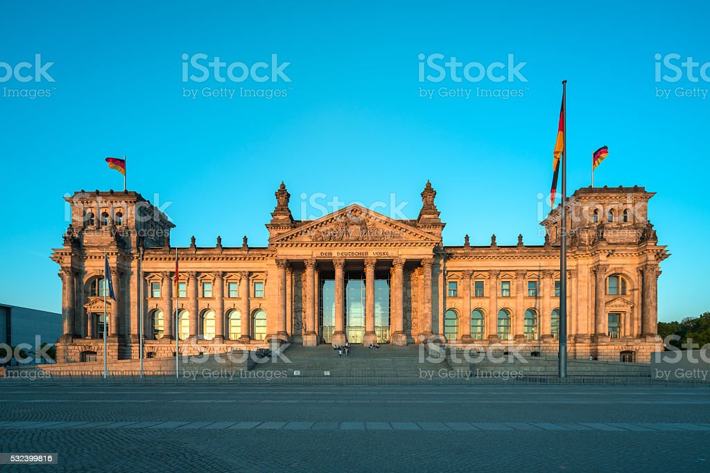 German Reichstag in Berlin at dusk stock photo