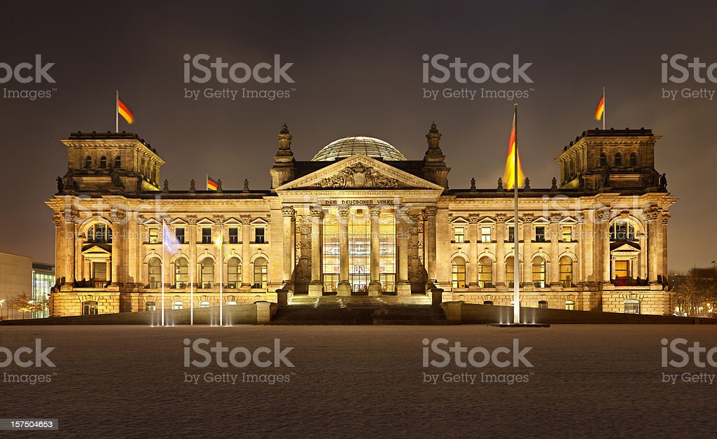 German Reichstag In Berlin At Night stock photo