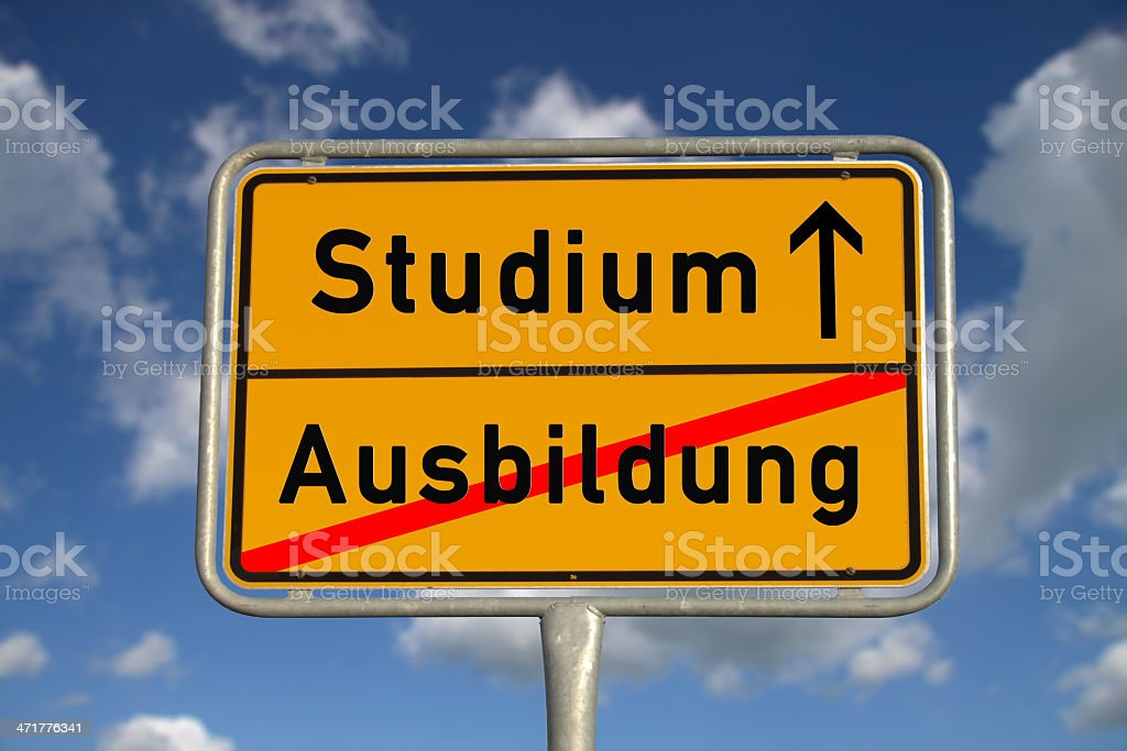German road sign apprenticeship and study royalty-free stock photo