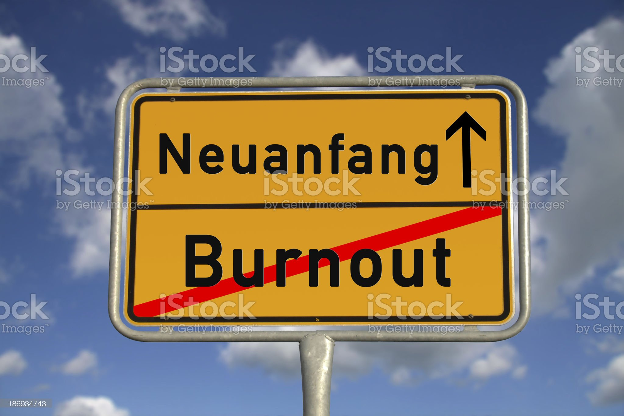 German road sign  burnout and new beginning royalty-free stock photo