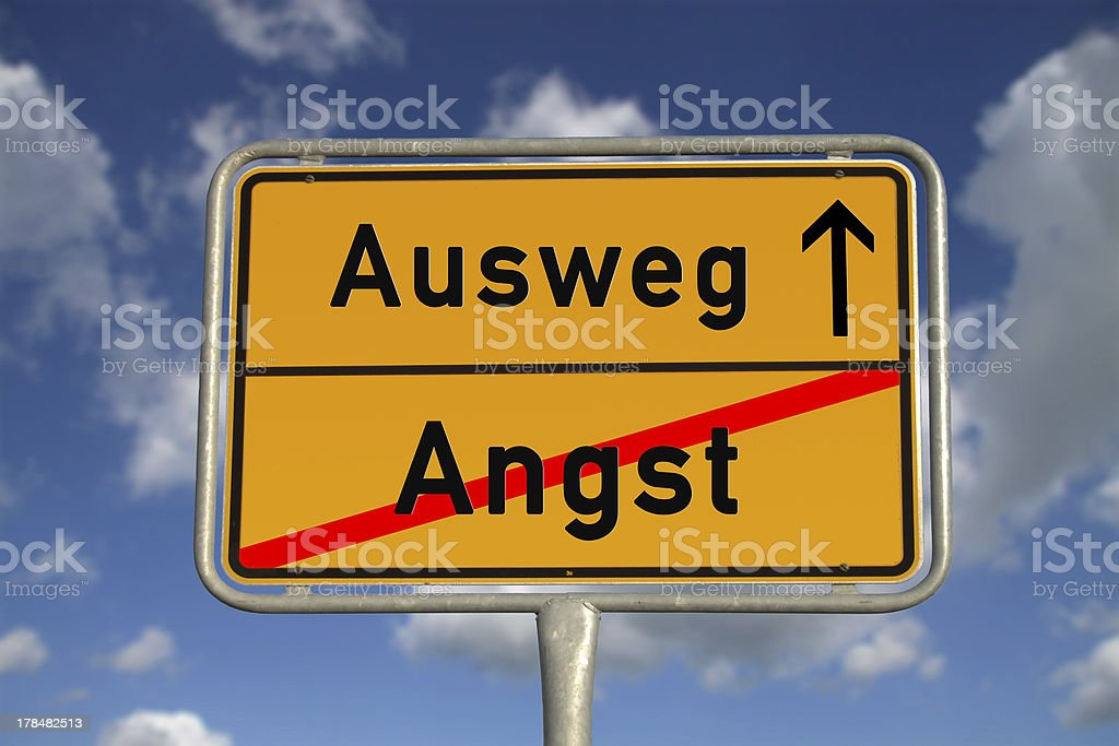 German road sign fear and way out royalty-free stock photo