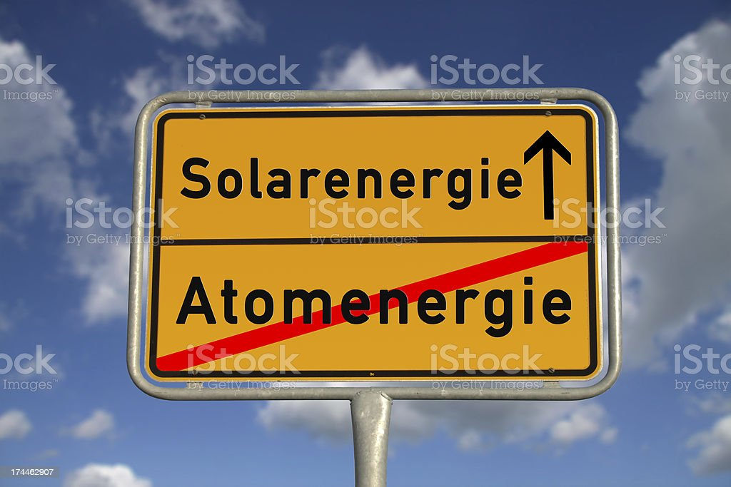 German road sign nuclear energy and solar royalty-free stock photo
