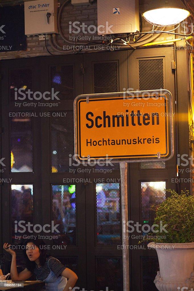German road sign on bazaar Talad Rot Fai Ratchada stock photo