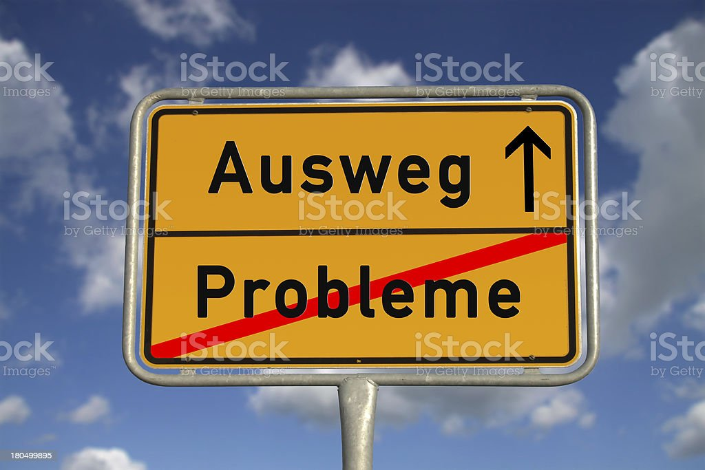 German road sign problems and  way out royalty-free stock photo