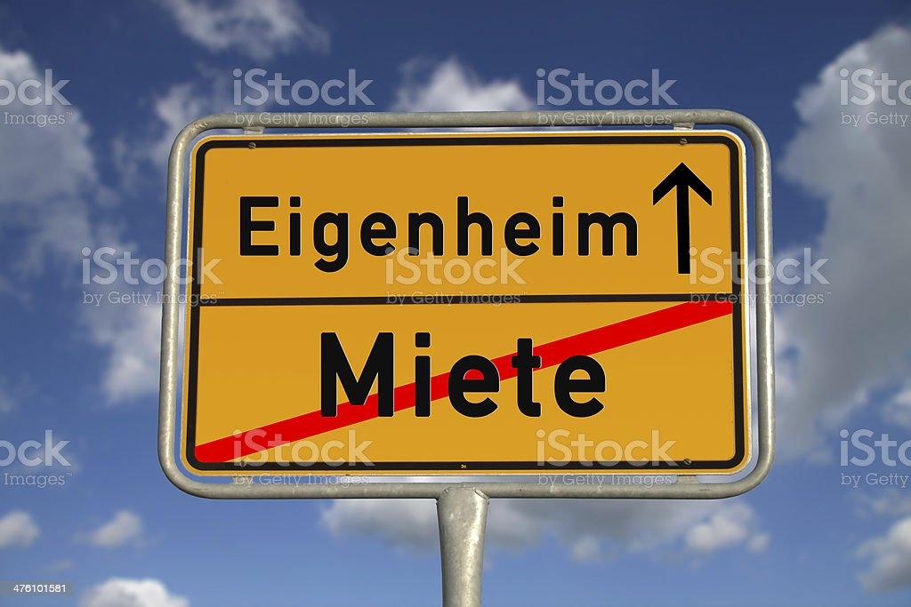 German road sign rental and owned home royalty-free stock photo