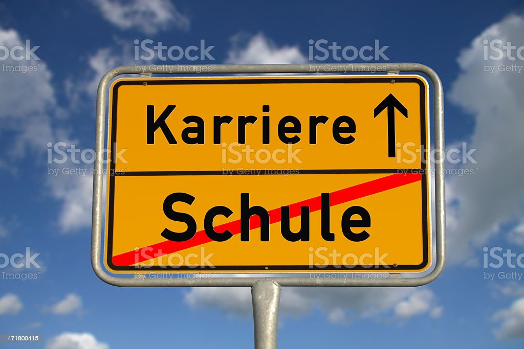 German road sign school  and career royalty-free stock photo