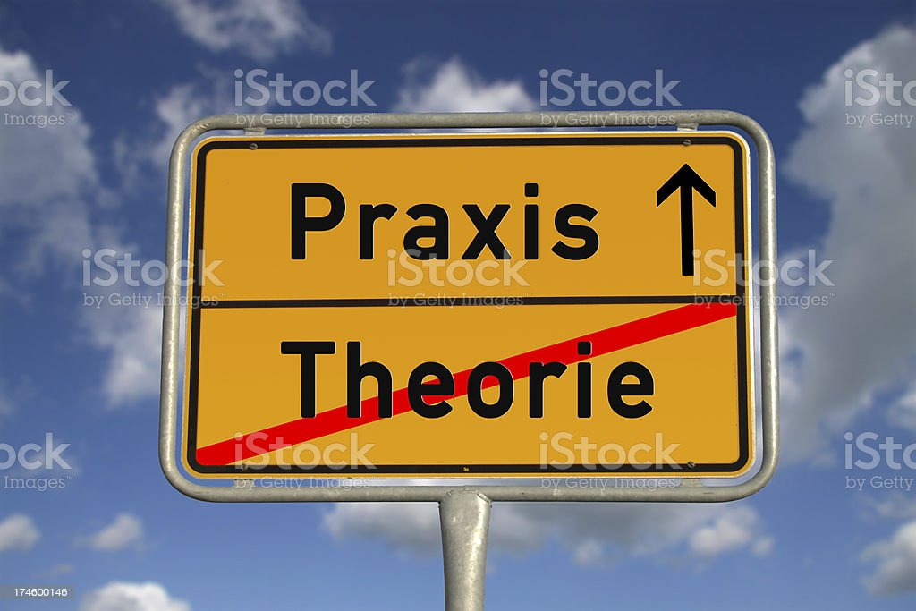German road sign theory and praxis stock photo