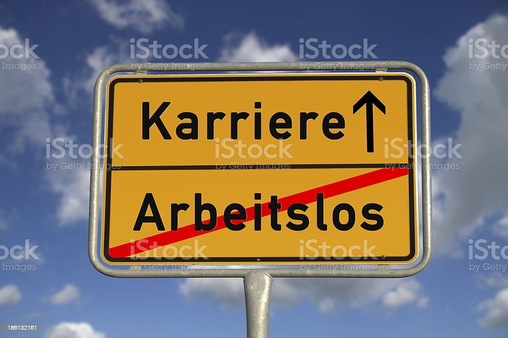 German road sign unemployed and career stock photo