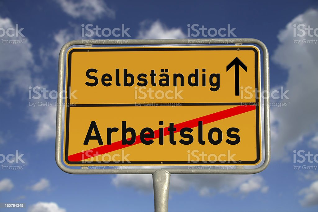 German road sign unemployed and self-employed stock photo