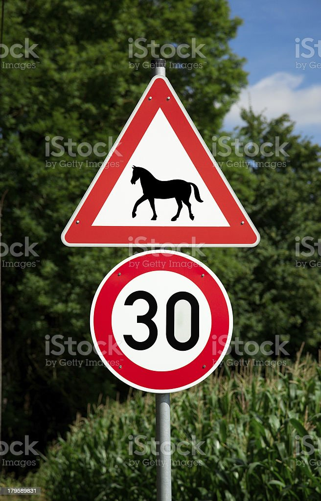 German Road sign warning for horses and speedlimit stock photo