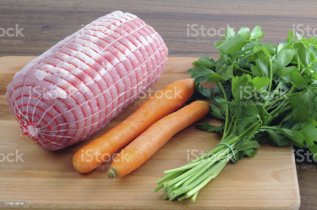 German rollbraten with vegetables stock photo