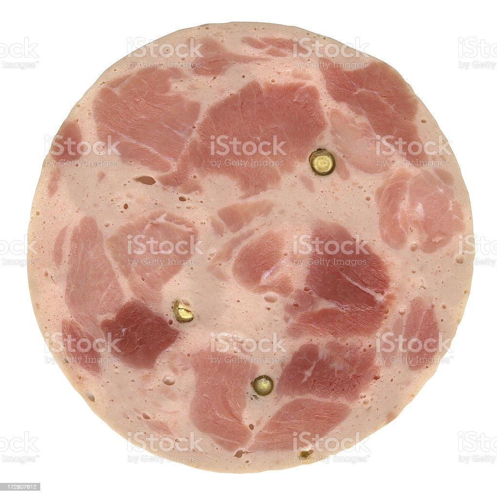 German Sausage (Bierschinken) isolated on white. royalty-free stock photo