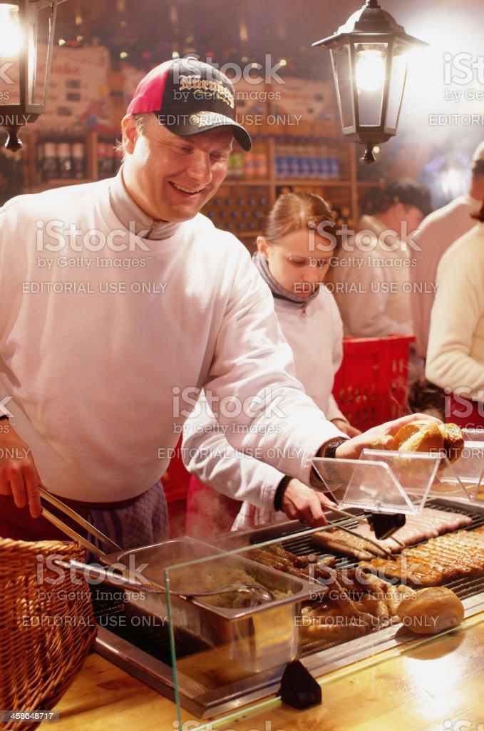 German Sausage Vendors in Nuremberg stock photo