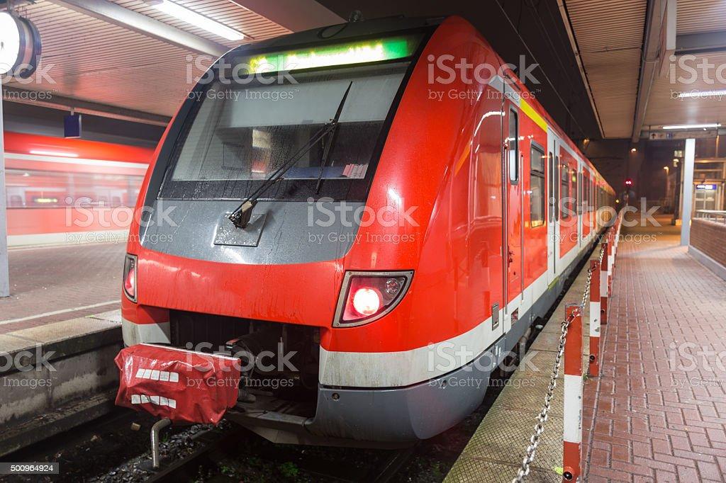 german sbahn train at night stock photo