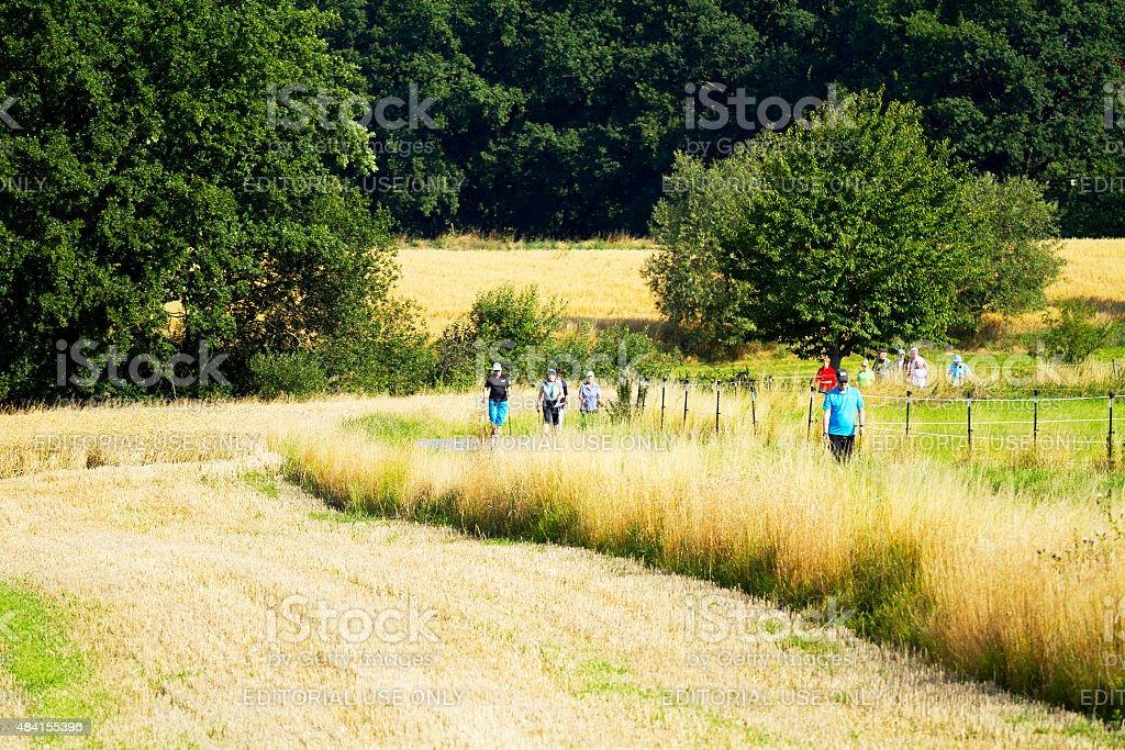 German seniors doing nordic walking in Ruhrgebiet stock photo