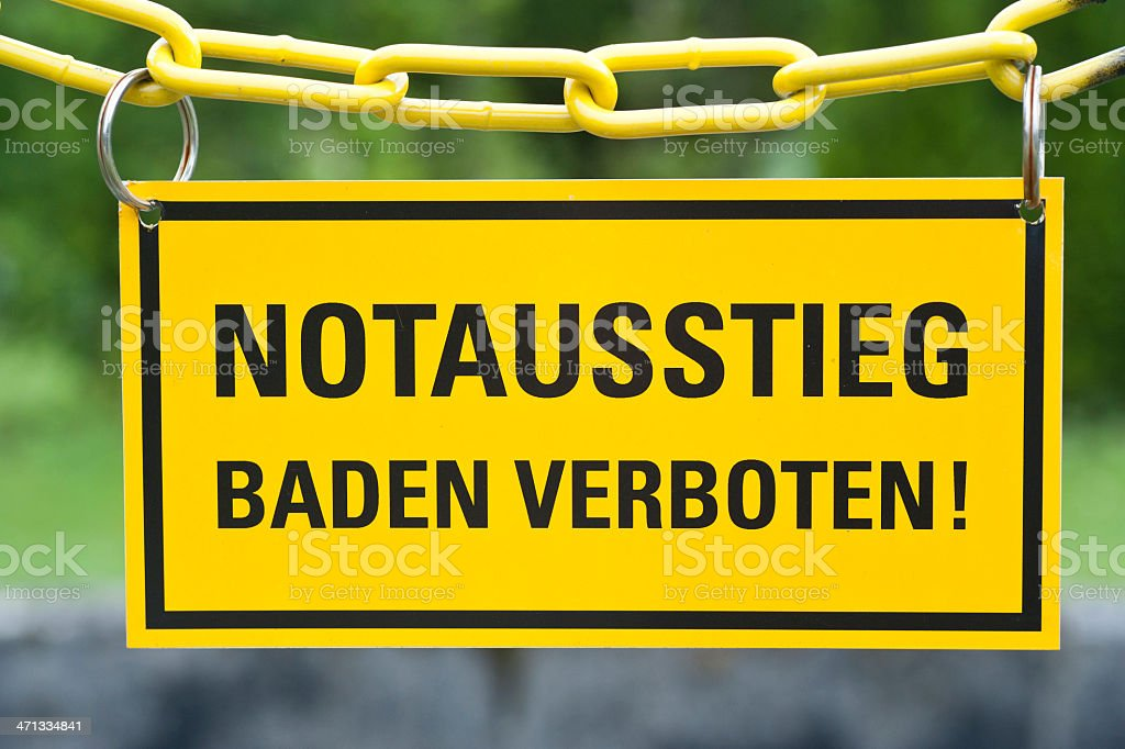 german sign 'Notausstieg' - Baden verboten stock photo