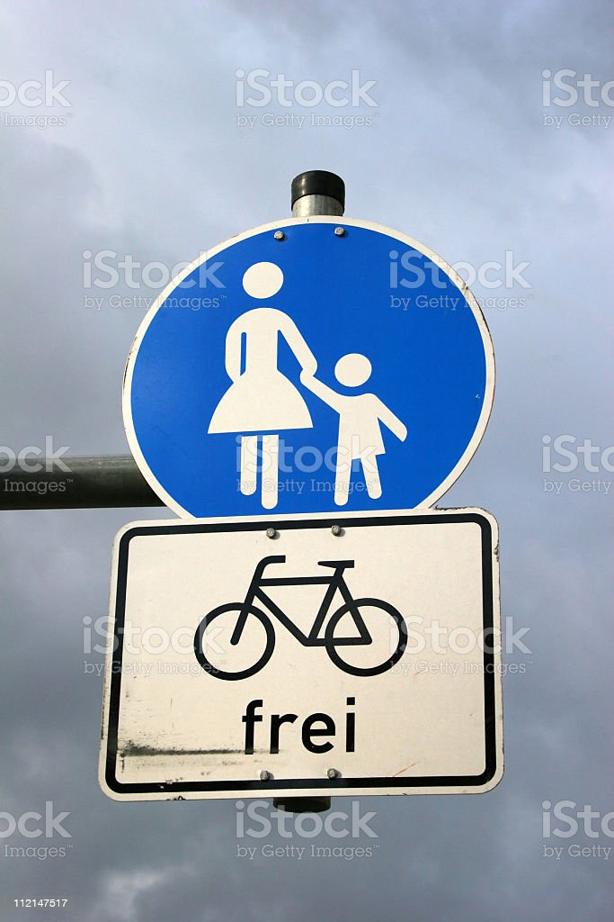 German signs for pedestrians and bikes royalty-free stock photo
