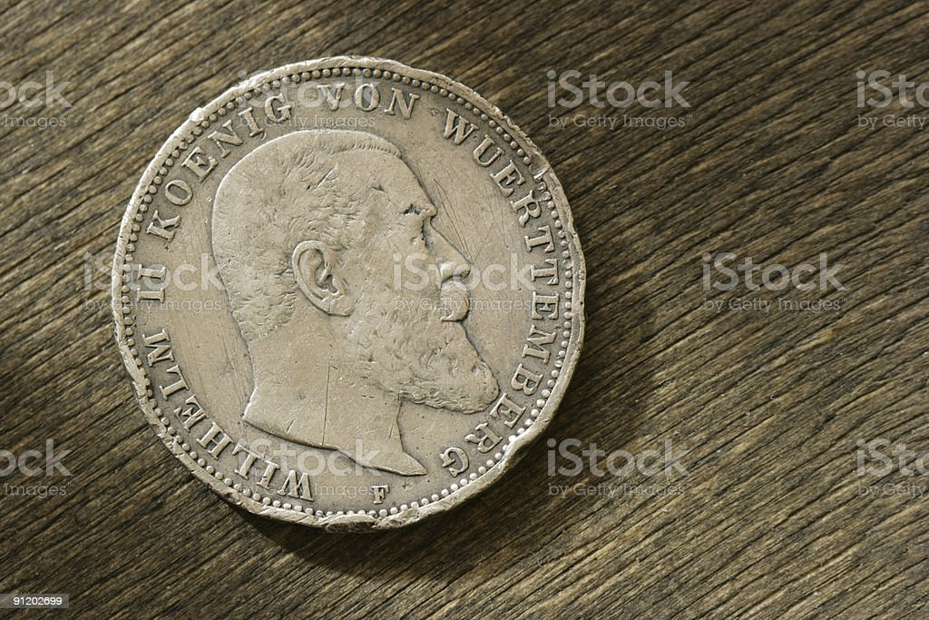 German silver coin. 1910 year. stock photo