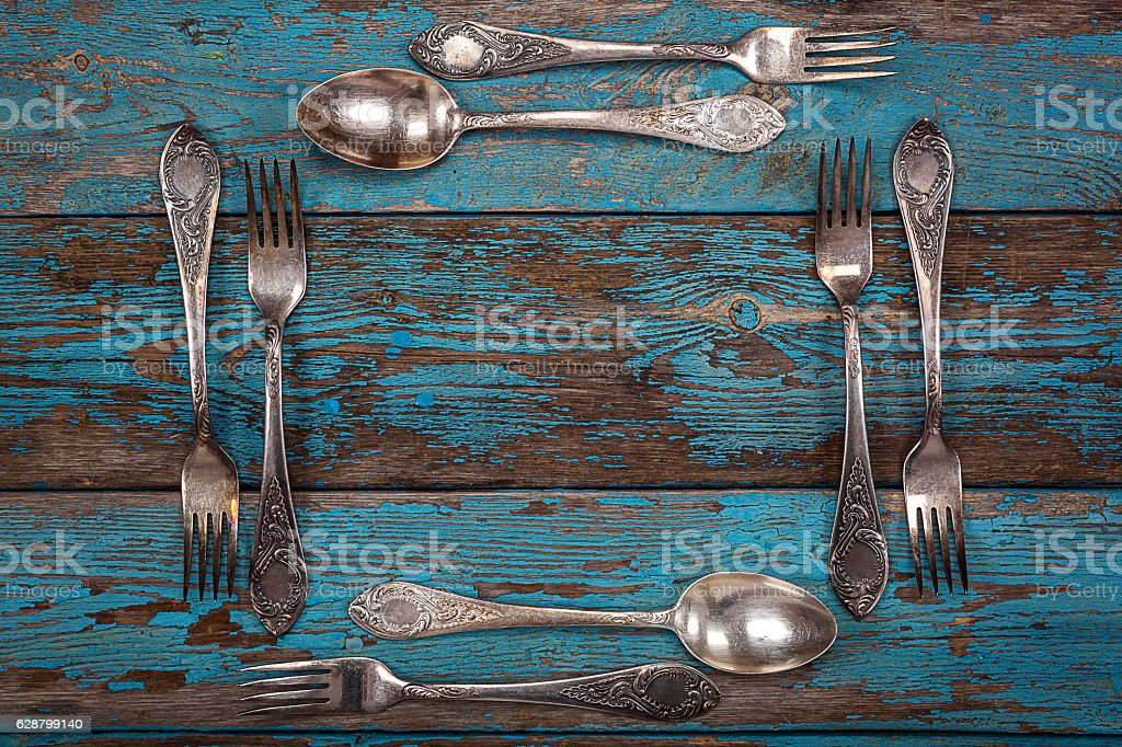 German silver spoon and fork. Kitchen utensils. stock photo