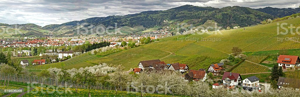 German small town Oberkirch  the Black Forest in spring stock photo