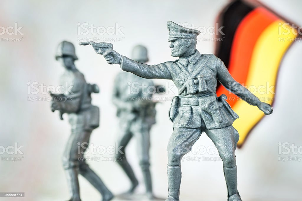 German soldier reenactment war concept with little toy soldier stock photo