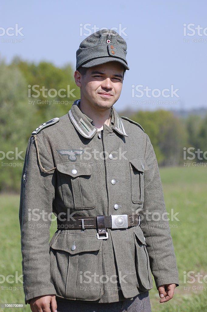 German soldier. WW2 reenacting stock photo