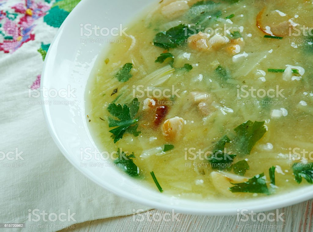 German soup with potatoes and bacon stock photo