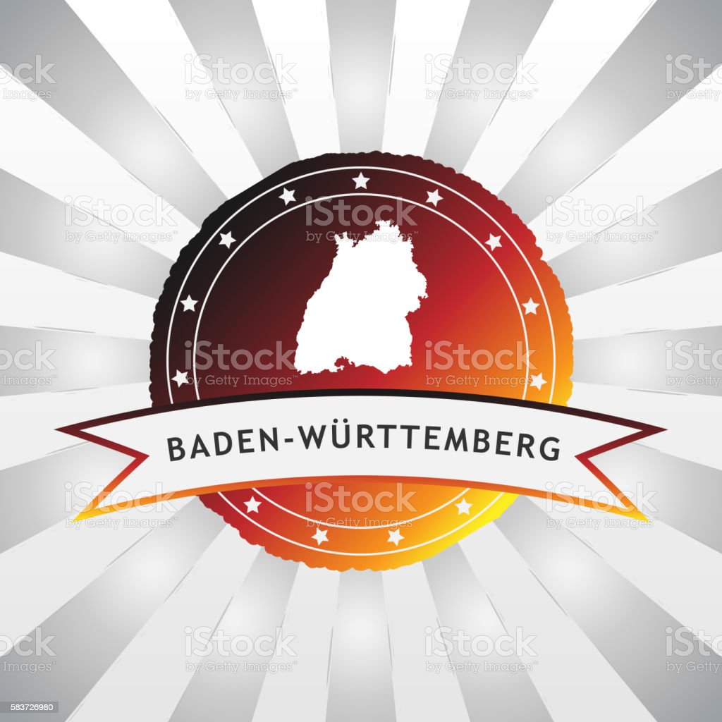 German State of Baden-Württemberg badge retro striped background stock photo