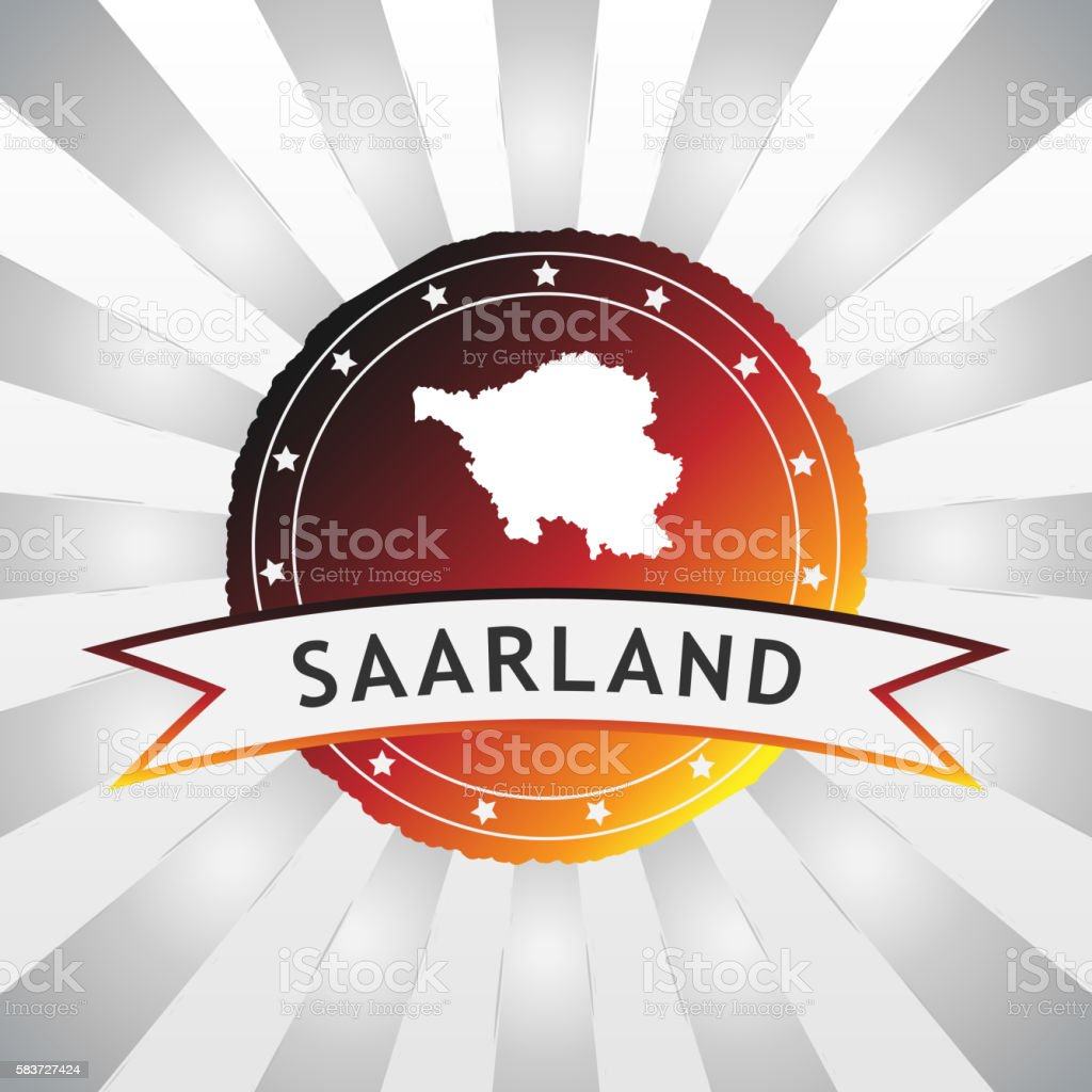 German State of Saarland badge retro striped background stock photo