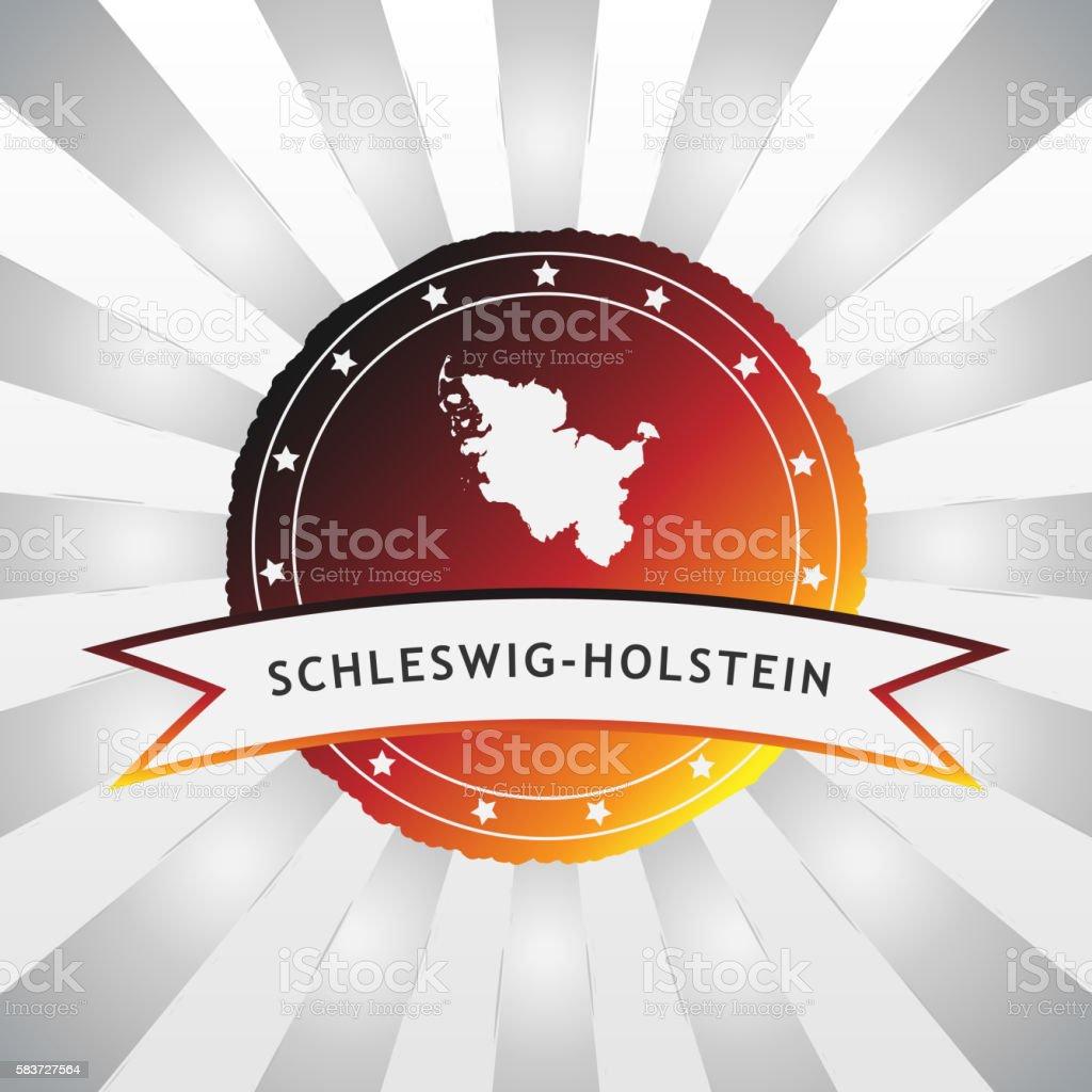 German State of Schleswig-Holstein badge retro striped background stock photo