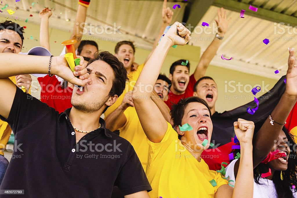 german supporters at stadium stock photo