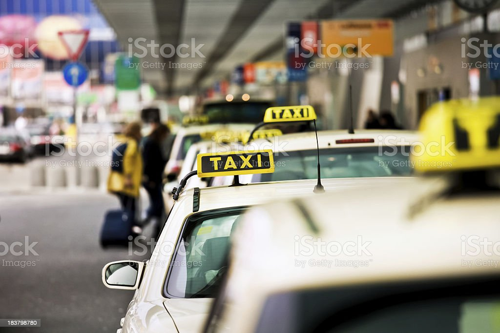 German taxi line up at airport stock photo