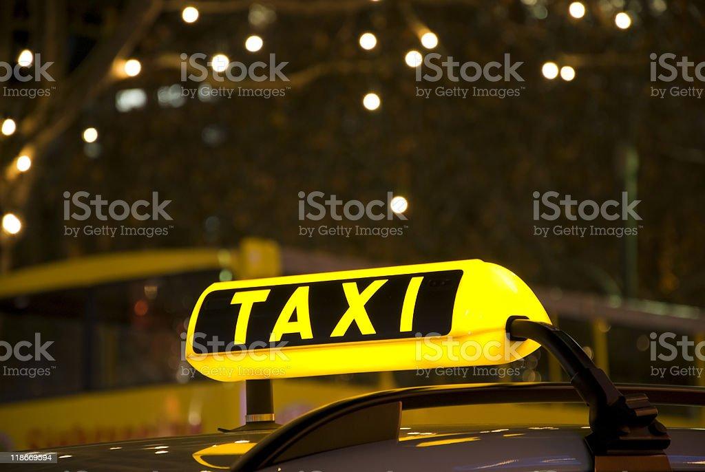 german taxi sign yellow stock photo