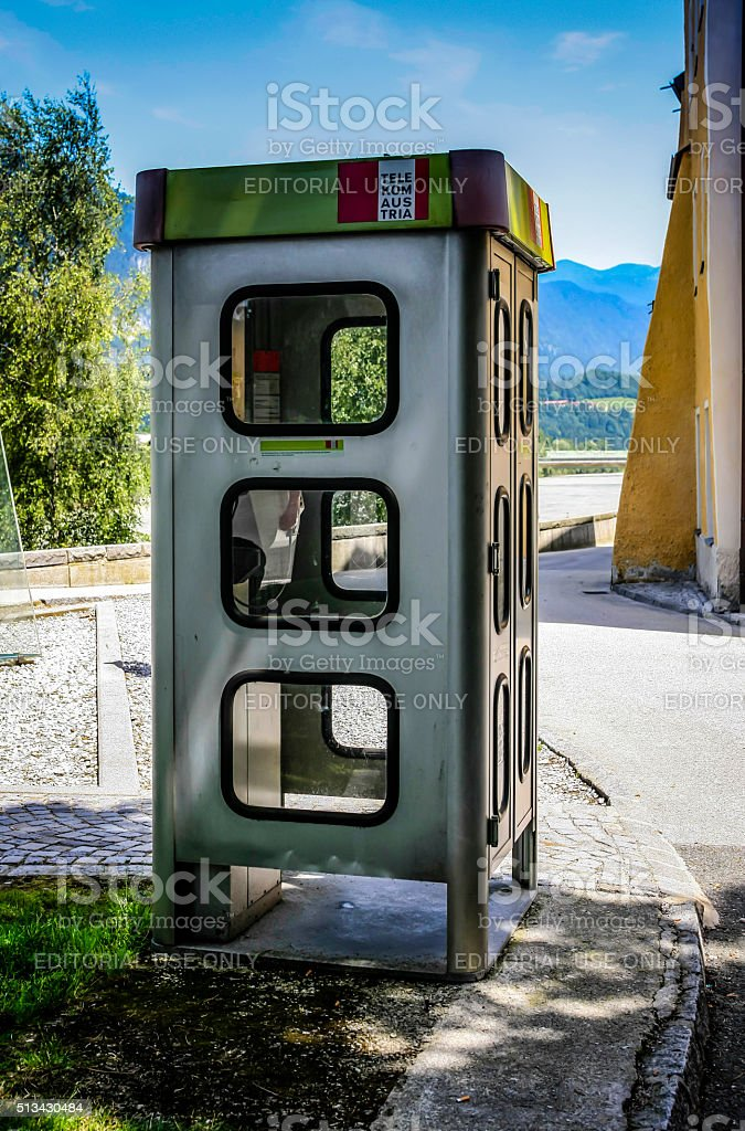 German Telekom phone box in Rattenberg, Austria stock photo