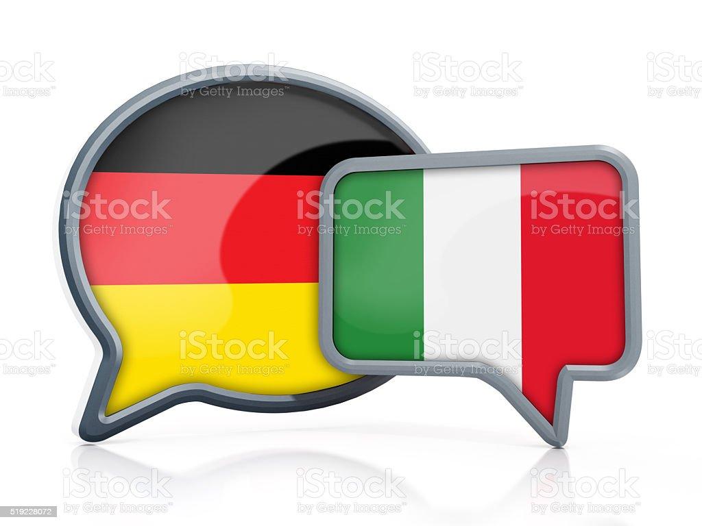 German to Italian ranslation stock photo