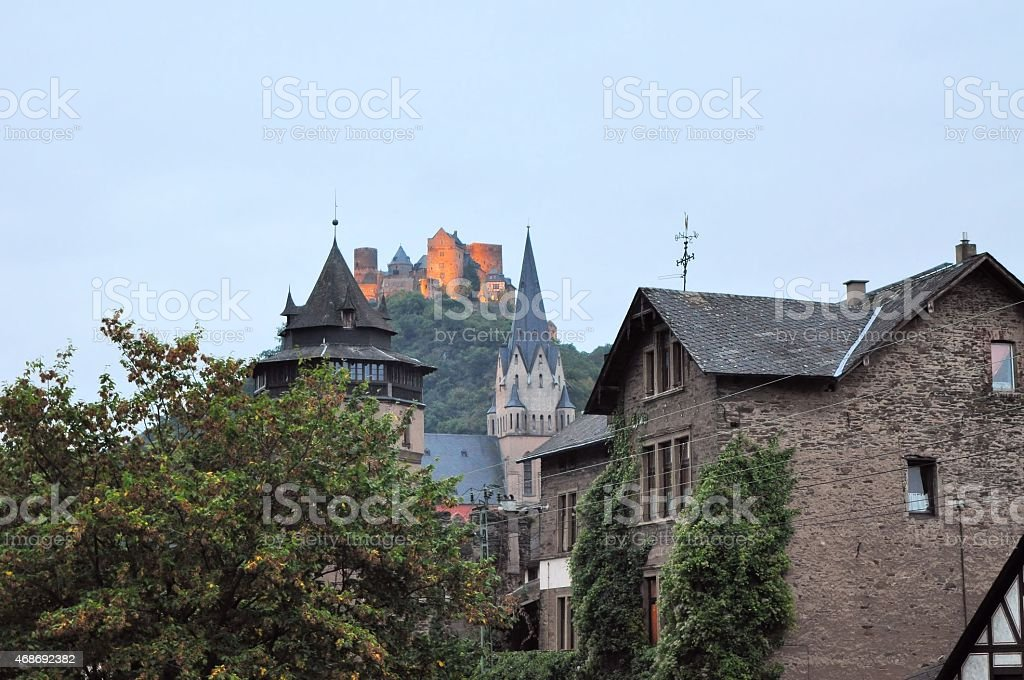 German town St. Goarshausen on the Rhine stock photo