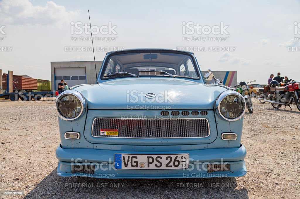 german trabant car stands on oldtimer show stock photo