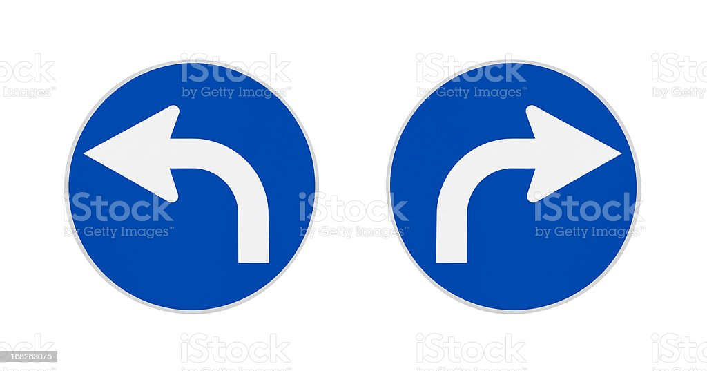 German traffic signs, turn left, right stock photo