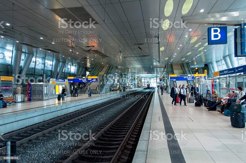 German train station platform stock photo