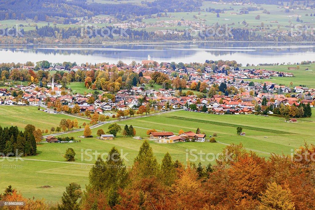German village on a nasty autumn day stock photo