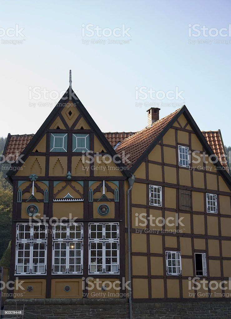 german village with timbered houses stock photo