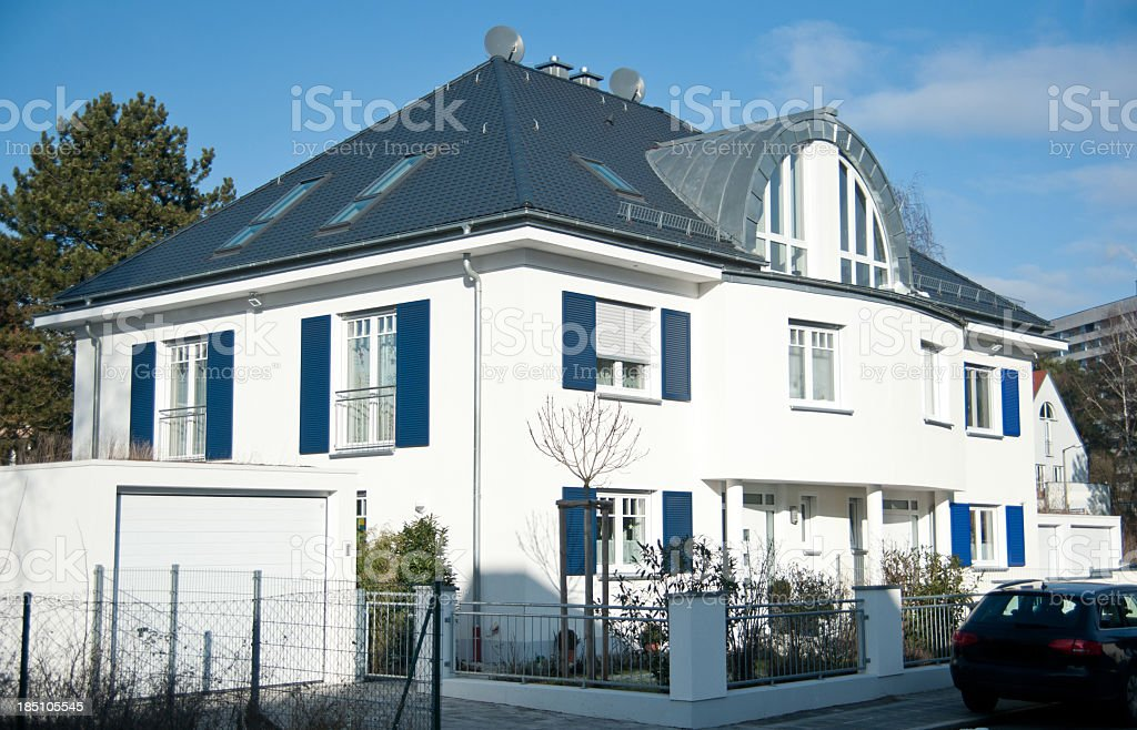 german white home with garden and garage royalty-free stock photo