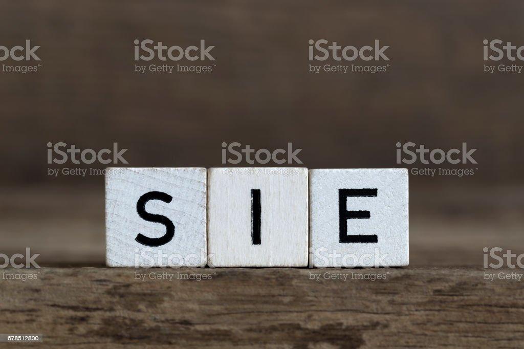 German word she, written in cubes stock photo