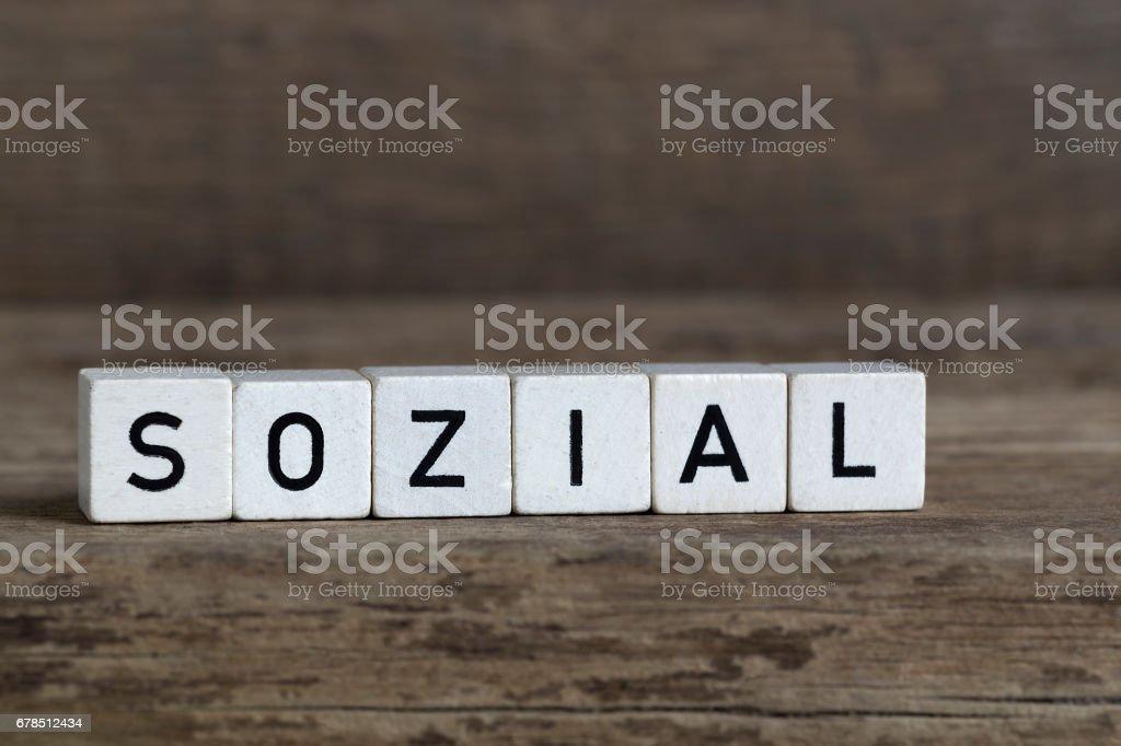 German word social, written in cubes stock photo