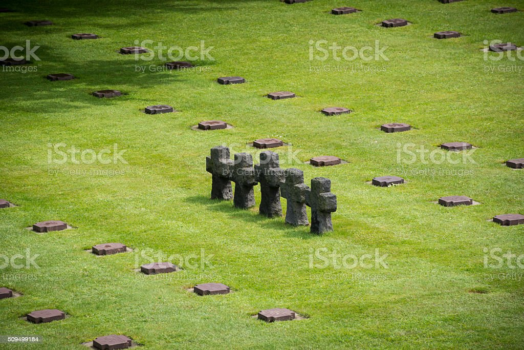 German World War II La Cambe cemetery at Normandy stock photo