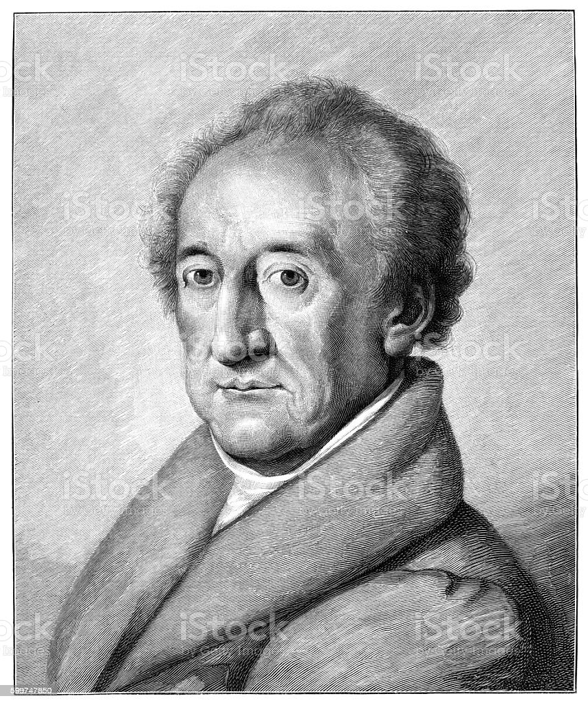 German writer Johann Wolfgang von Goethe engraving stock photo