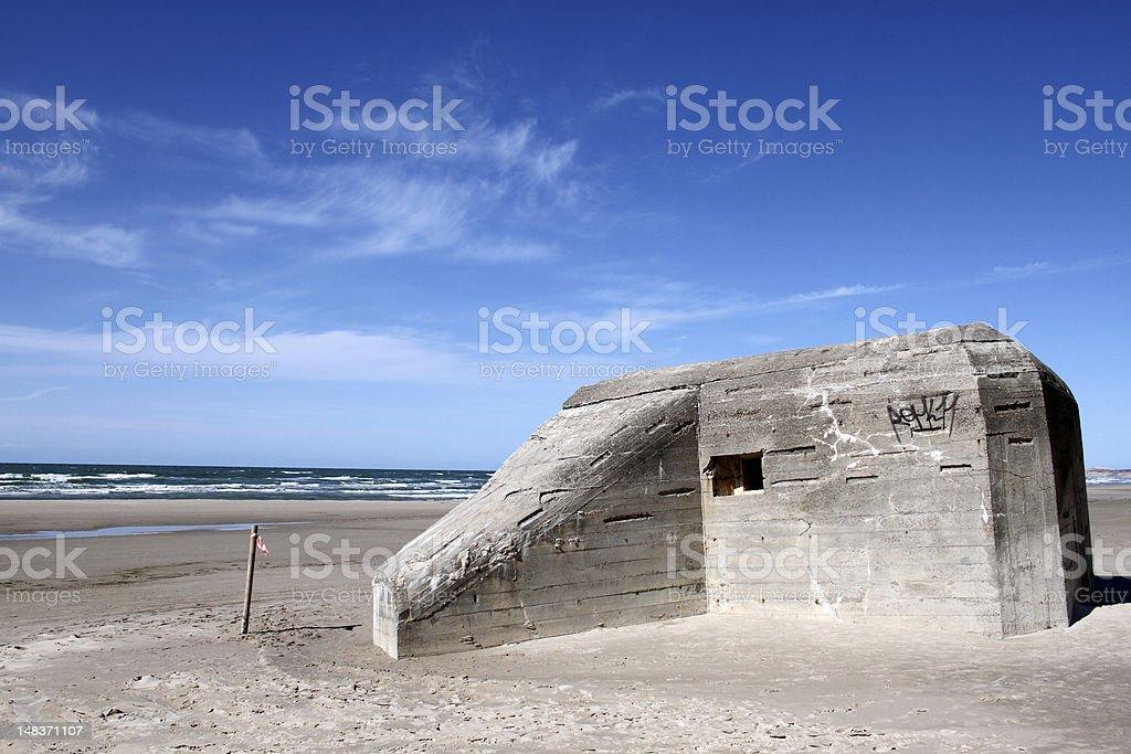 German WWII bunker on Danish beach royalty-free stock photo