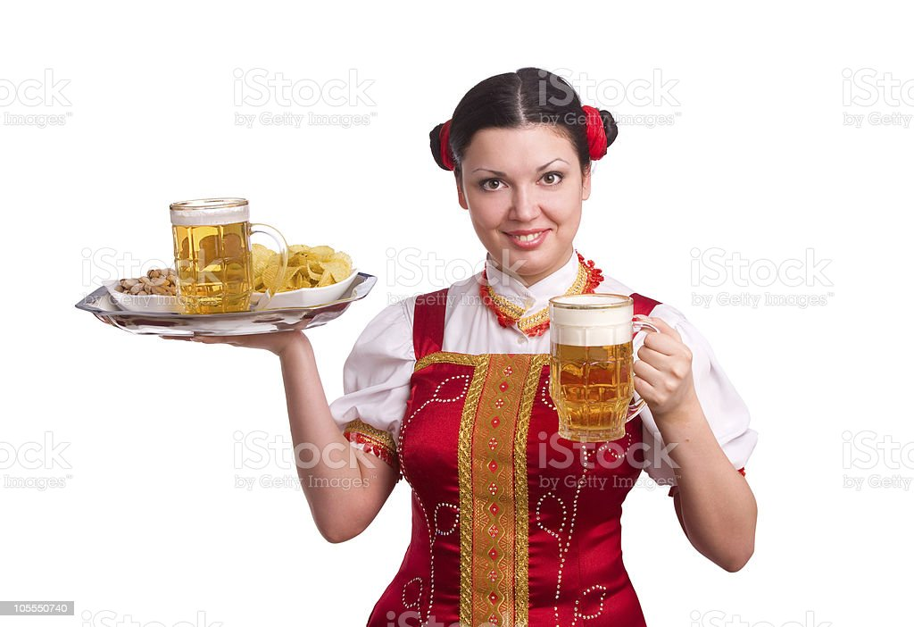 German/Bavarian woman with beer royalty-free stock photo
